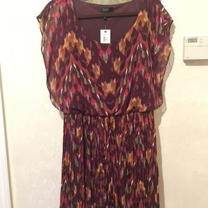Jessica Simpson Patterned Maroon Dress